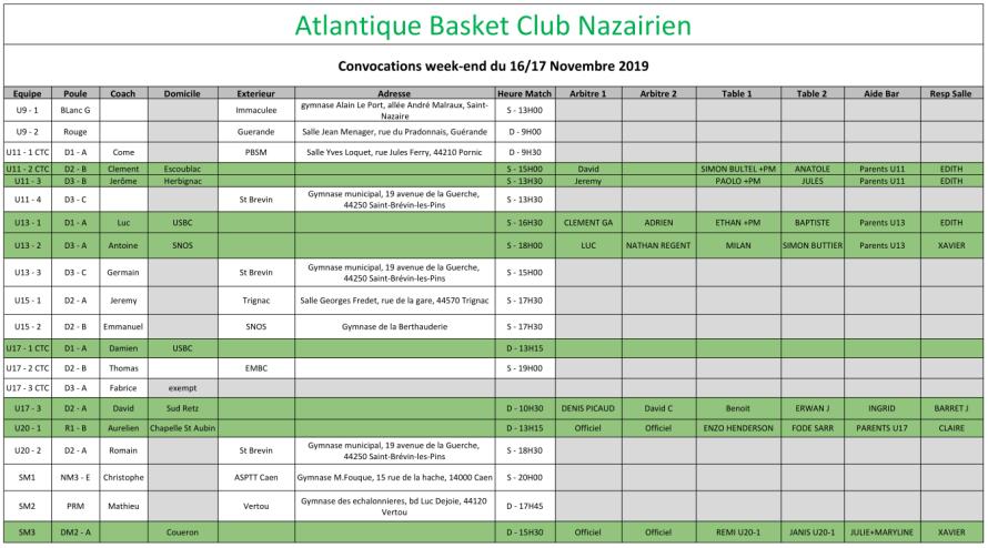 planning 16-17 novembre
